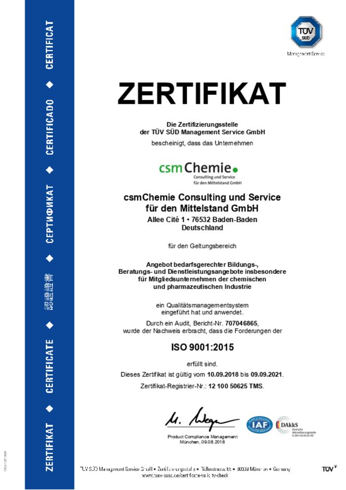 Die Akademie wird von der csmChemie GmbH betrieben. Und diese Tochter des Arbeitgeberverbandes ist ein zertifizierter Bildungsanbieter mit Qualitätsmanagement nach DIN EN ISO 9001.