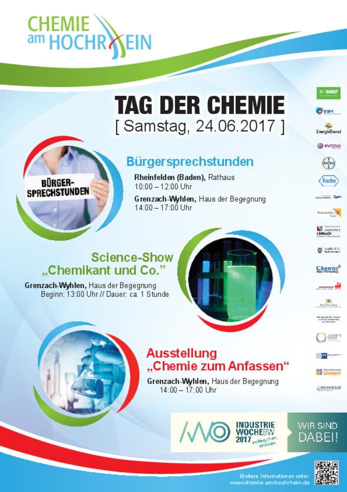 """Mit Bürgersprechstunden, einer rollenden Science-Show und der Ausstellung """"Chemie zum Anfassen"""" macht die Initiative Chemie am Hochrhein am 24. Juni auf die Leistungen der Chemie-Branche aufmerksam."""