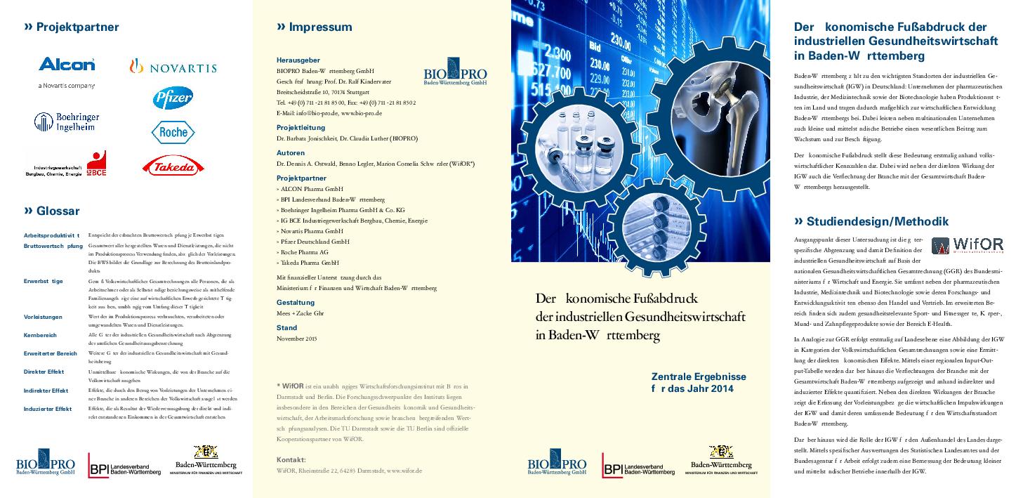 Der ökonomische Fußabdruck der industriellen Gesundheitswirtschaft in Baden-Württemberg